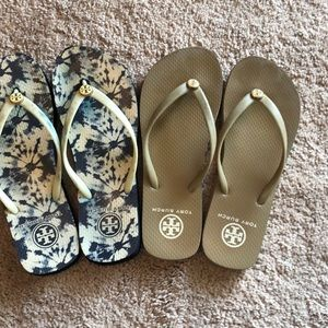 Two pairs of Tory Burch Flip Flops